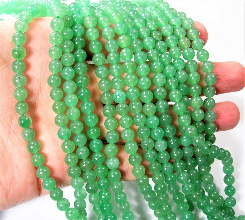 Green Aventurine 6mm round beads 1 full strand  64 beads  A image 0