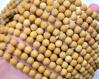 Yellow Mookaite matte - 8mm round - 1 full strand - 47 beads - A quality - RFG1732