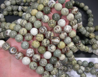 Dendritic jasper - 12mm round beads - full strand - Pine tree Dendritic jasper - 33 beads - RFG2033