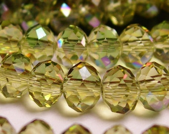 Crystal faceted rondelle - 98 beads - 6 mm - AA quality - light aurora green sparkle - full strand - CBFB10