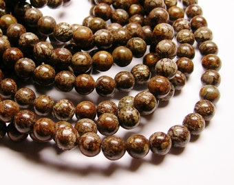 Obsidian 8 mm AA quality - 48 beads per strand - full strand - brown snowflake obsidian - RFG808