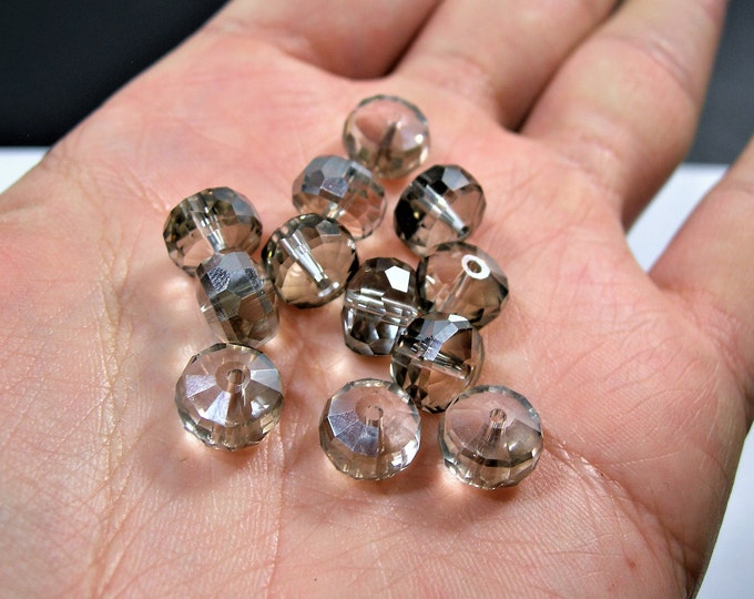 Crystal faceted rondelle wheel - 12 pcs - 7mm x 10mm - AA quality - smoky grey - BCR22