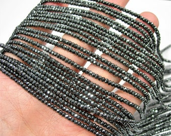 Hematite - 2x3mm micro faceted rondelle  beads - full strand -200 beads - AA quality - CHG3