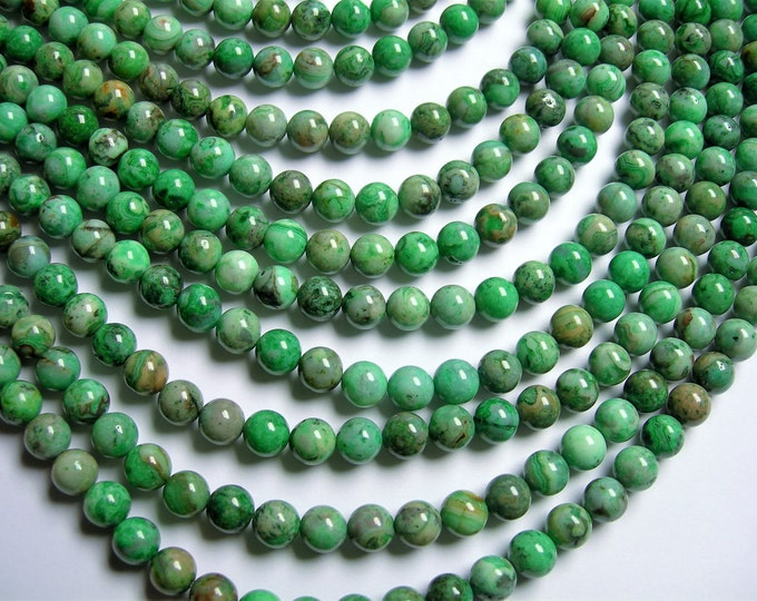 Green Crazy Lace Agate - 8mm round - 1 full strand - 49 beads - A quality - RFG1226