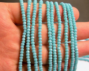 Crystal - rondelle faceted 3.5mm x 2.5mm beads - 140 beads - Blue - full strand - MAC5