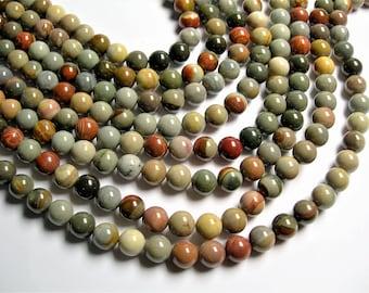 Polychrome jasper - 10 mm round beads - full strand - 40 beads - AA quality - Madagascar Polychrome - RFG441