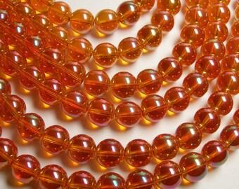 Crystal round 12mm - 26 beads  - 1 strand - orange sparkle  - CRV133