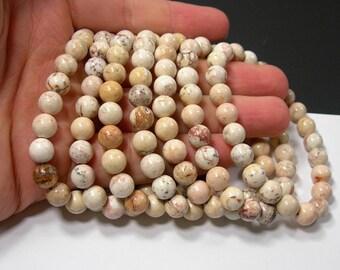 Cream Matrix Howlite turquoise  - 8mm round beads - 23 beads - 1 set  - HSG245