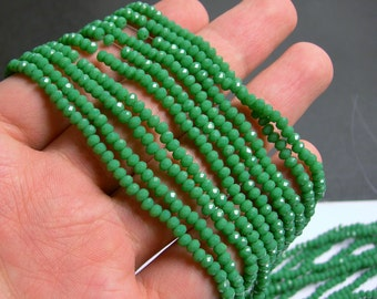 Crystal - rondelle faceted 3.5mm x 2.5mm beads - 135 beads - green - full strand - MAC18
