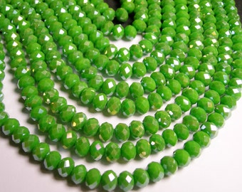 Crystal faceted rondelle - 70 pcs -  8 mm - A quality - full strand - Ab green - GSH27