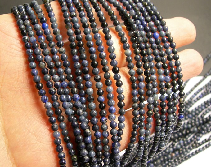 Dumortierite - 3 mm round beads -1 full strand - 133 beads - RFG39