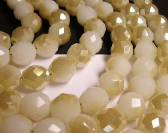 Crystal faceted rounded - 12 pcs - 10 mm - AA quality - beige - AB - CFHBC11