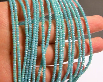Crystal - rondelle  faceted 3mm x  2mm beads - 200 beads - AA quality - aqua turquoise - ab - CAA2G87