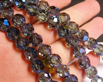 Crystal faceted rounded - 12 pcs - 10 mm - AA quality - mystic blue - AB -  CFHBC16