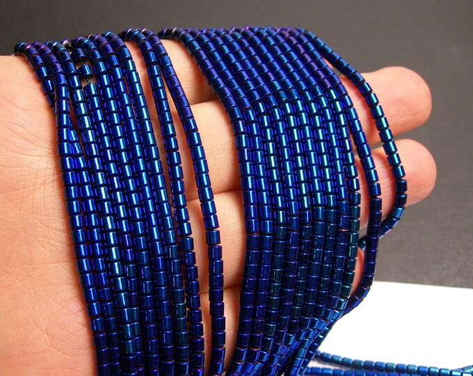 Hematite mystic blue - 3x3mm tube beads - full strand - 132 beads - AA quality -  - PHG144