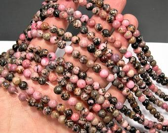 Rhodonite - 6mm round - full strand - 62 beads - Black veined Rhodonite - RFG1561