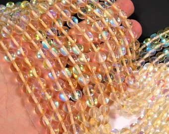 Lemon yellow Mystic aura quartz - 8mm round - Holographic quartz - 49 Beads - full strand - RFG1801
