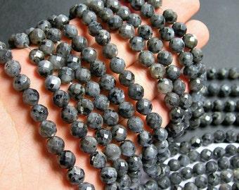 Larvikite - 8mm faceted round beads - full strand - 48 beads - AA Quality - black labradorite - RFG444