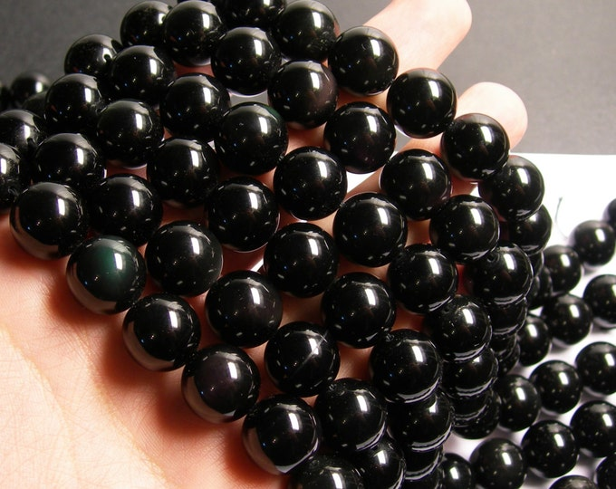 Obsidian rainbow - 14 mm round beads -1 full strand - 28 beads - AA quality - RFG802