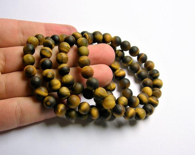 Tiger eye - 8mm round beads - matte -  23 beads - 1 set  - HSG25