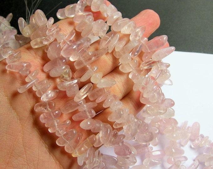 Rose quartz gemstone - bead - full strand - stick - point - A quality - PSC257