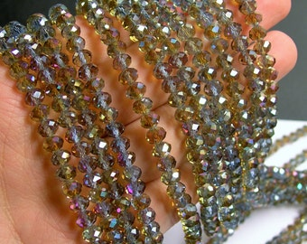 Crystal faceted rondelle - 98 beads - 6 mm - AA quality - smoky labrador AB - full strand - CRV58