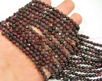 Garnet - 5mm micro faceted round beads - 80 beads - Full strand  - PG309