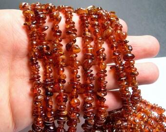 Hessonite Garnet - chip stone beads - 36 inch strand  - Grossular garnet - A quality - PSC70