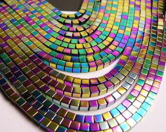 Hematite - 3mm cube beads - full strand - 120 beads - A quality - rainbow hematite - PHG7