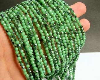 Crystal faceted rondelle - 145 pcs - 20 inch strand - 4 mm - A quality - AB green dual tone - YAZ10
