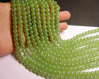 Crystal - round - 8 mm - green - full strand - 40 beads - RC3A