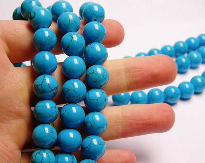 Howlite turquoise - 12mm round beads -1 full strand - 34 beads - AA QUALITY