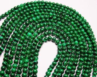 Malachite - 6 mm round beads -1 full strand - 68 beads - Reconstituted - RFG2178