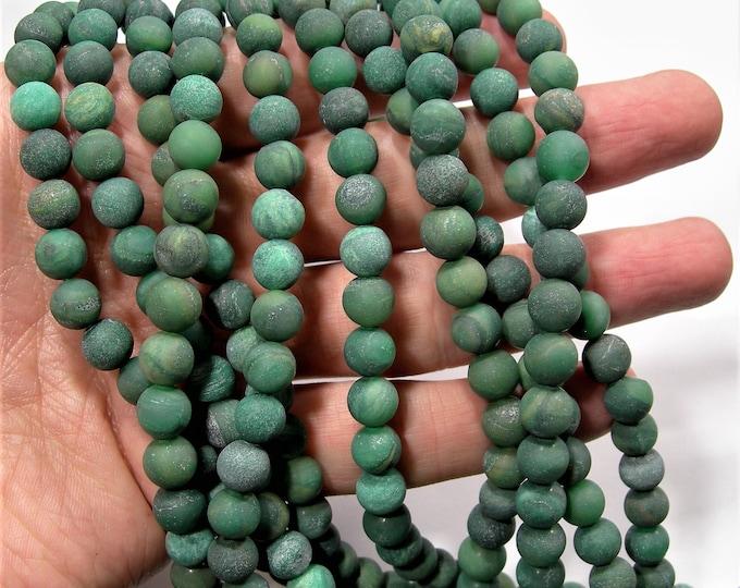 Verdite matte 8mm (7.8mm) round - full strand - 50 beads - Matte  Matrix Verdite - RFG1755