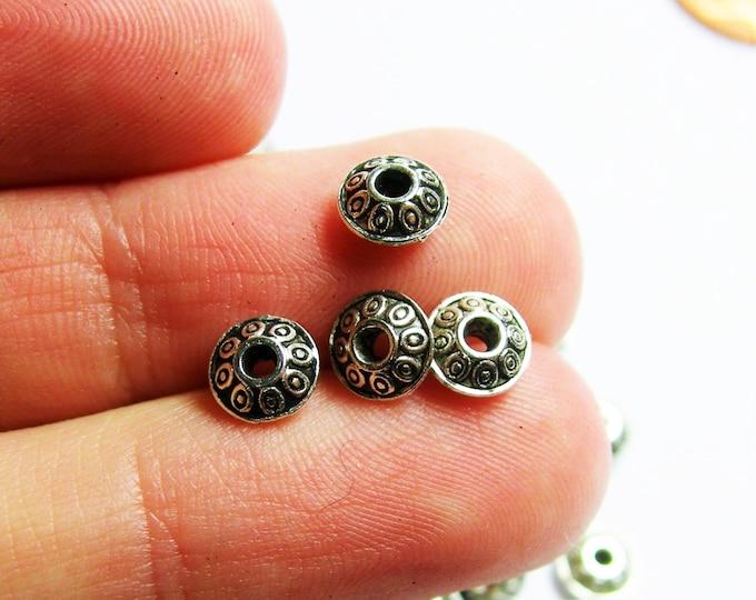100 pcs rondelle disc antique silver tone beads - 6mm - ASA211