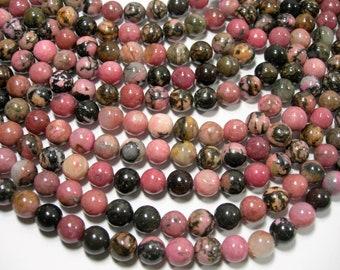 Rhodonite - 8mm round - full strand - 49 beads - RFG2060