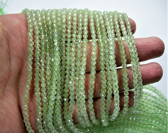 Prehnite - 3.5mm faceted round beads -  1 full strand 16 inch - 40 cm - 122 beads - Micro Faceted - AA Quality - PG152