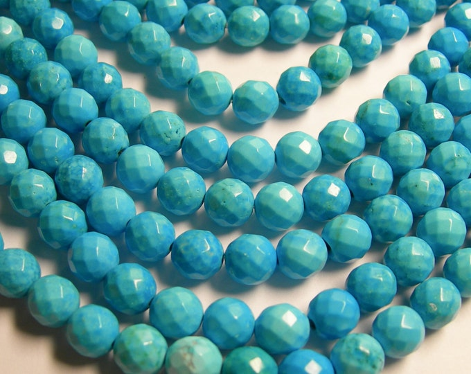 Howlite turquoise - 8mm faceted round beads -1 full strand - 49 beads - A quality - RFG369
