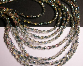 Faceted teardrop crystal beads - 100 pcs - 3mm x 5mm - sparkle watermelon - CLGD9