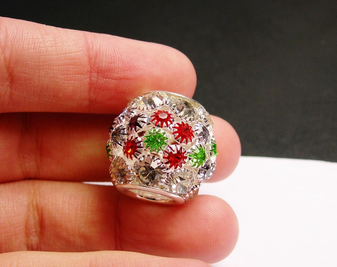 Crystal faceted large bead - large  hole beads - 1 pcs - silver - multicolor