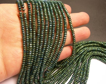 Hematite aqua green- 2x4mm faceted rondelle beads - full strand - 184 beads - A quality - PHG138