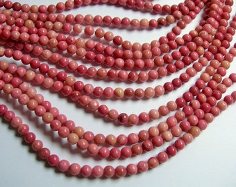 Rhodonite gemstone 5mm( 4.7mm) round -  full strand - 85 beads - A quality - RFG732