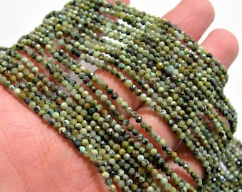 African turquoise - 2mm faceted round beads - 1 full strand - 170 beads - Turquoise  - Micro Faceted - AA Quality - PG100