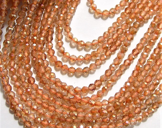 Topaz - 2.5mm micro faceted round beads - 158 beads - Full strand 16 inch - 40 cm - Topaz - AA Quality - PG107