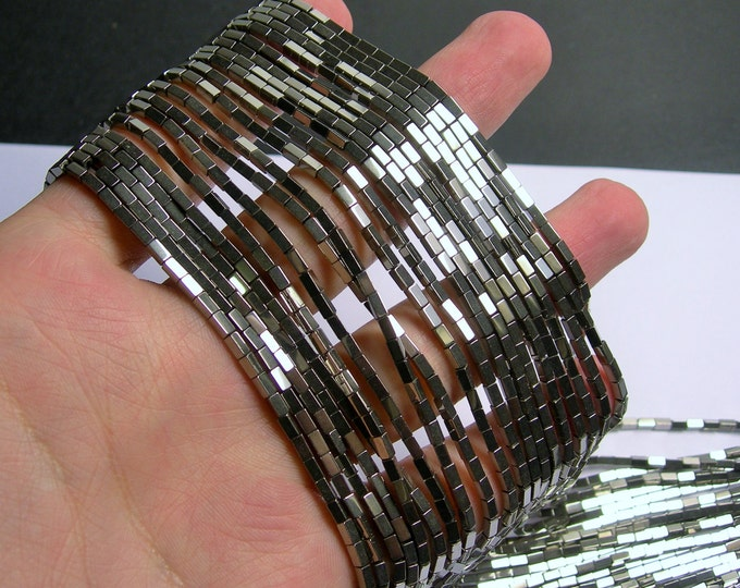 Hematite Silver - 4mm rectangle beads -  full strand - 100 beads - AA quality - 4x2 - PHG235