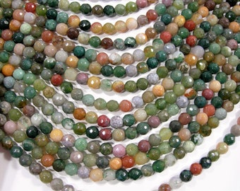Indian agate 6mm faceted - full strand - 58 beads per strand  - RFG1976