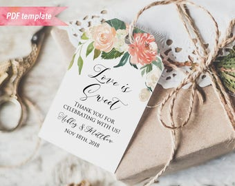 """Printable Peach Cream Floral Gift Tag, Wedding Thank You Tag, Name Tag, Favor Tag, 2x3"""", Editable PDF Template, DIY Instant Download #02 #12"""