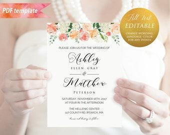 Printable Peach Cream Floral Wedding Invitation Template, Editable PDF 5x7 Rustic Wedding Invites, vistaprint, DIY Instant Download #02 #12