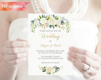 Printable Ivory Cream Floral Green Gold Wedding Invitation PDF Template Editable 5x7 Invites Vistaprint DIY Instant Download 06