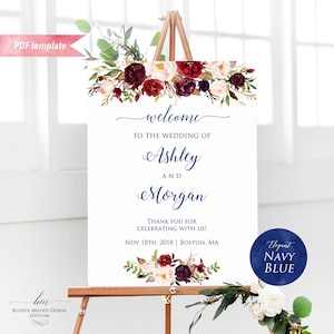 518-A Floral Unlimited Custom Signs 16 x 20 18 x 24 24 x 36 Instant Download Burgundy Navy Gold Geometric Editable Welcome Sign Template